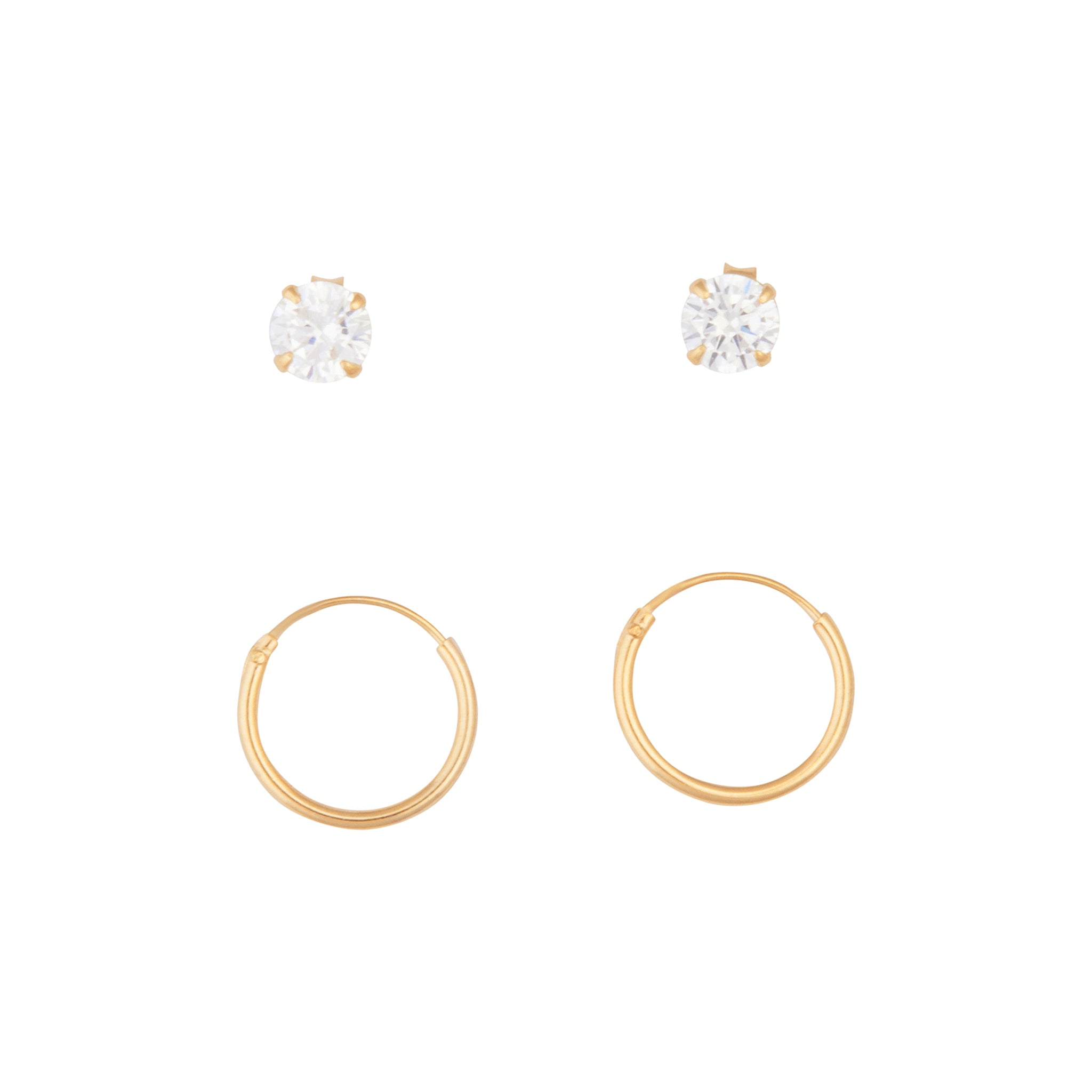 Gold Plated Sterling Silver Diamante Stud And Hoop Pack