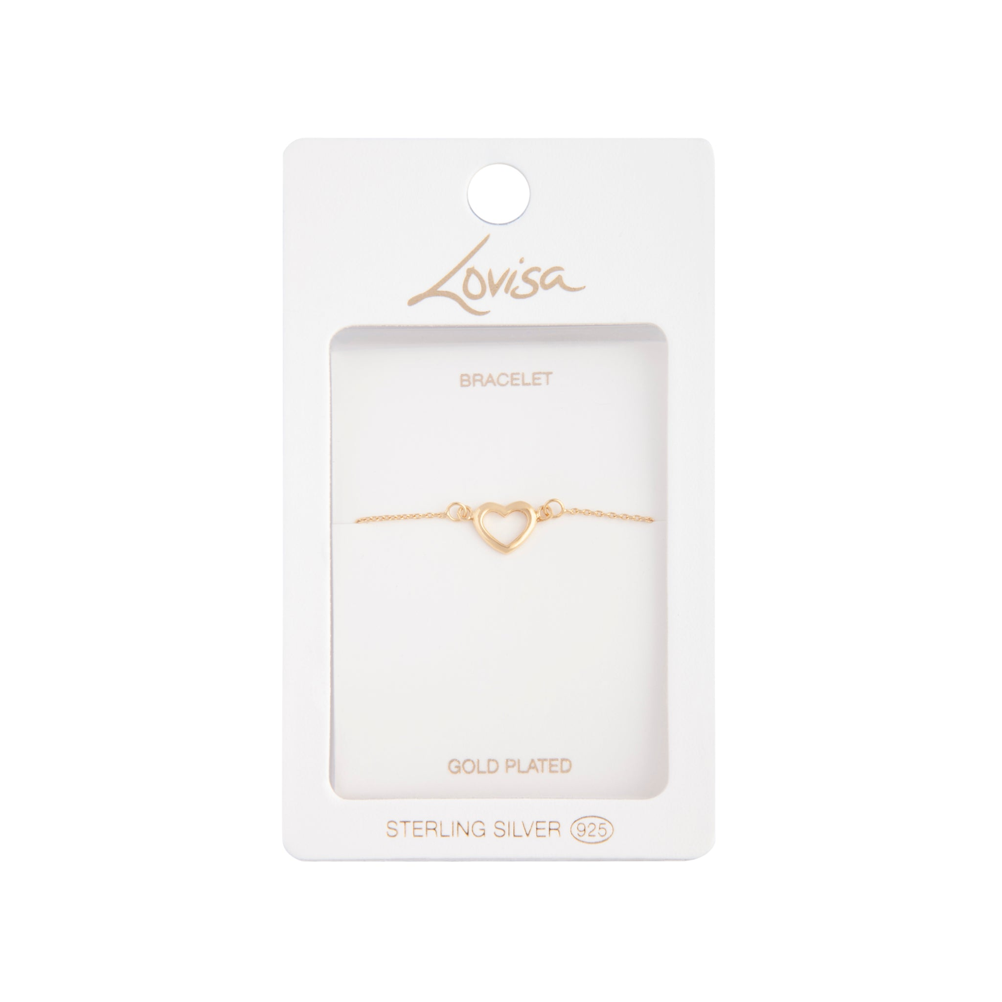 Gold Plated Cut Out Fine Heart Bracelet