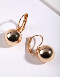 Gold Euro Ball Conti Clasp Earring - link has visual effect only