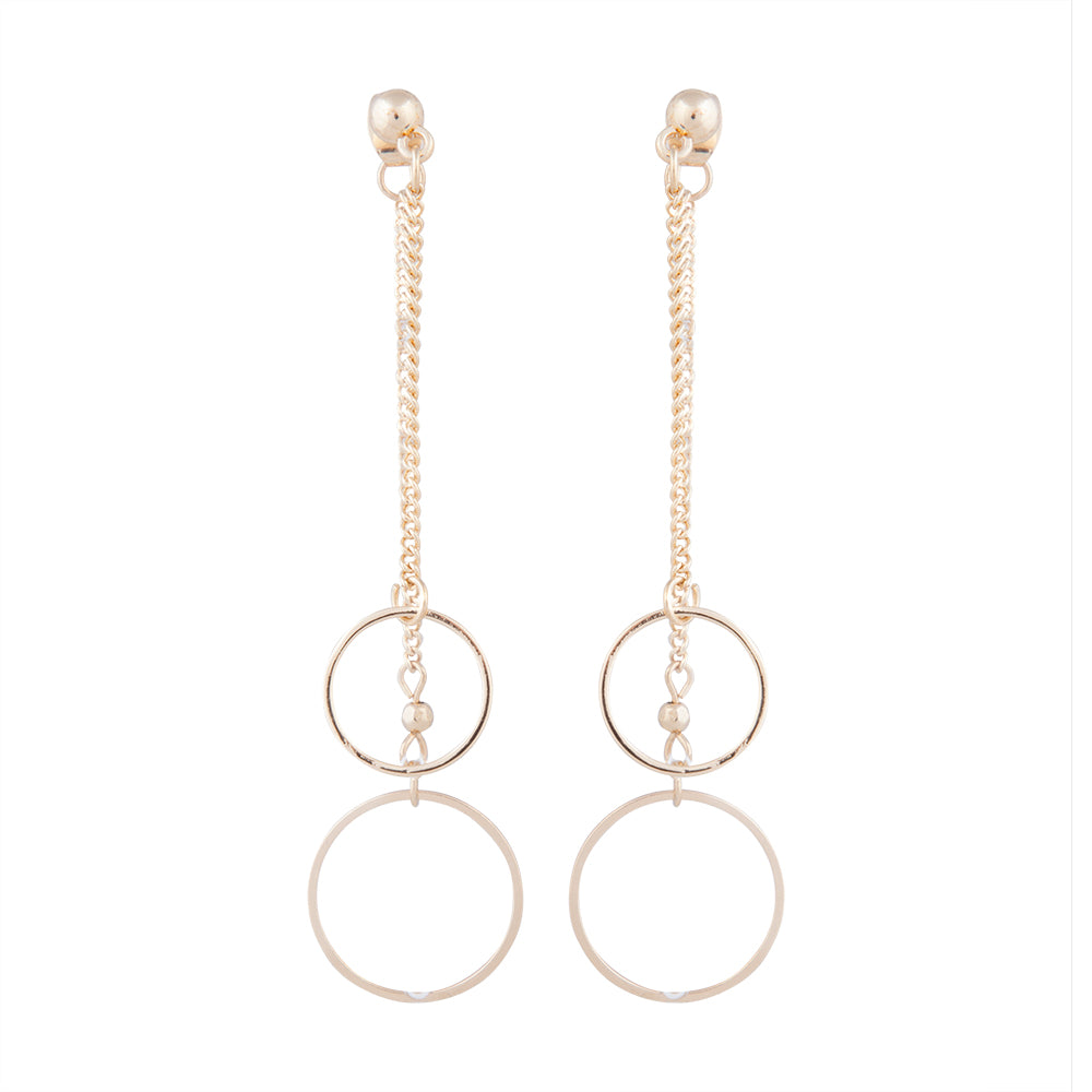 Gold Double Chain And Circle Drop Sandwich Earring