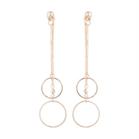Gold Double Chain And Circle Drop Sandwich Earring - link has visual effect only