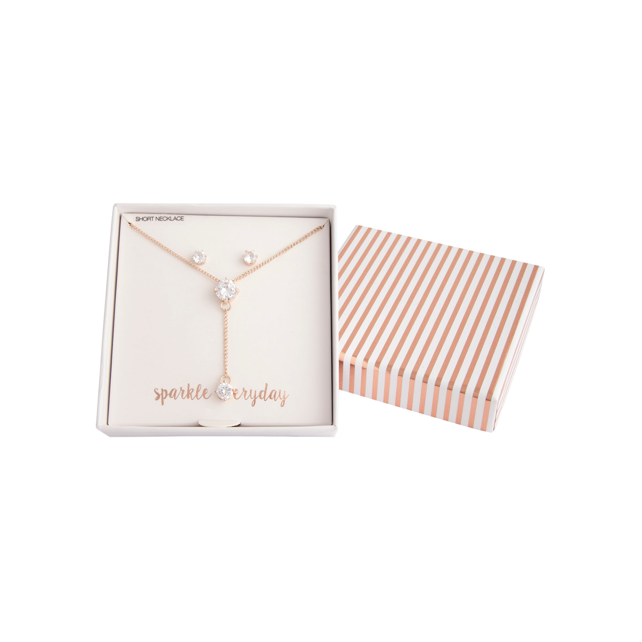 Rose Gold Crystal Extended Necklace Earring Set