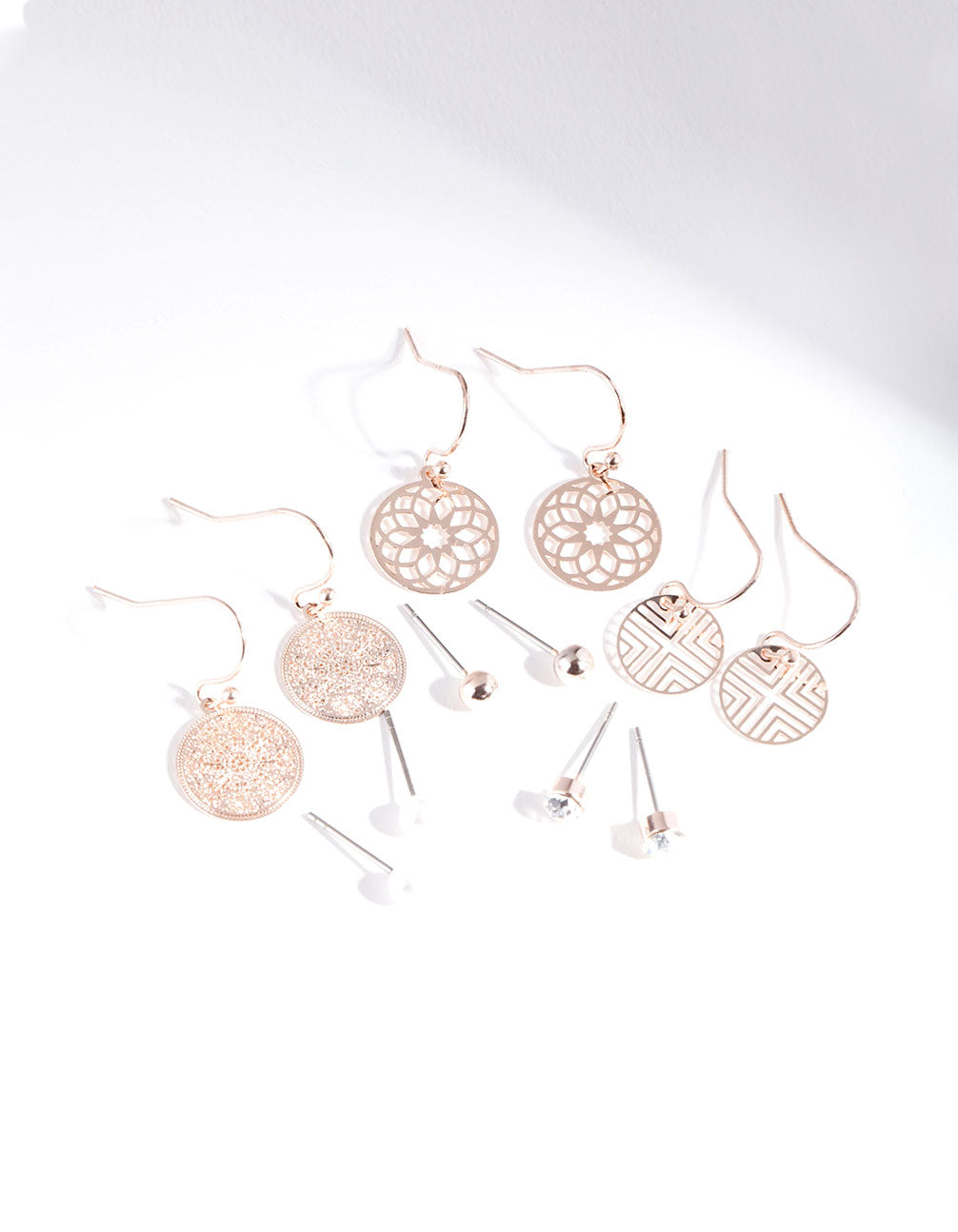 Rose Gold Filigree Earring 6 Pack