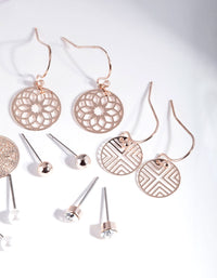 Rose Gold Filigree Earring 6 Pack - link has visual effect only