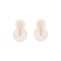 Rose Gold Circle Filigree Jacket Earring