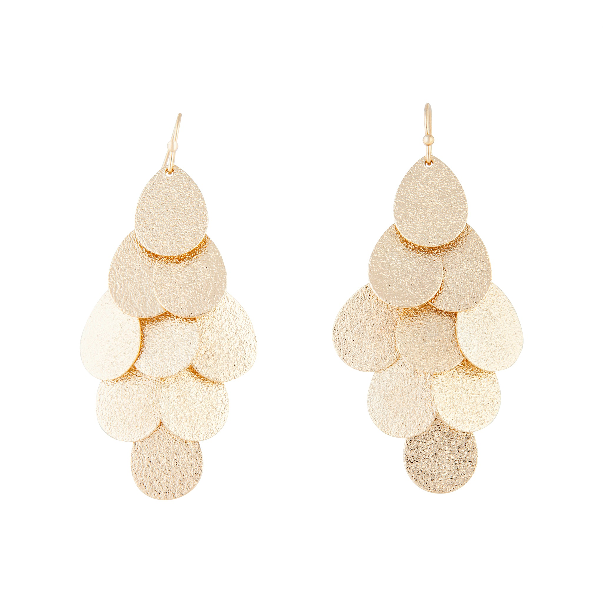 Gold Layered Textured Leaf Drop Earrings