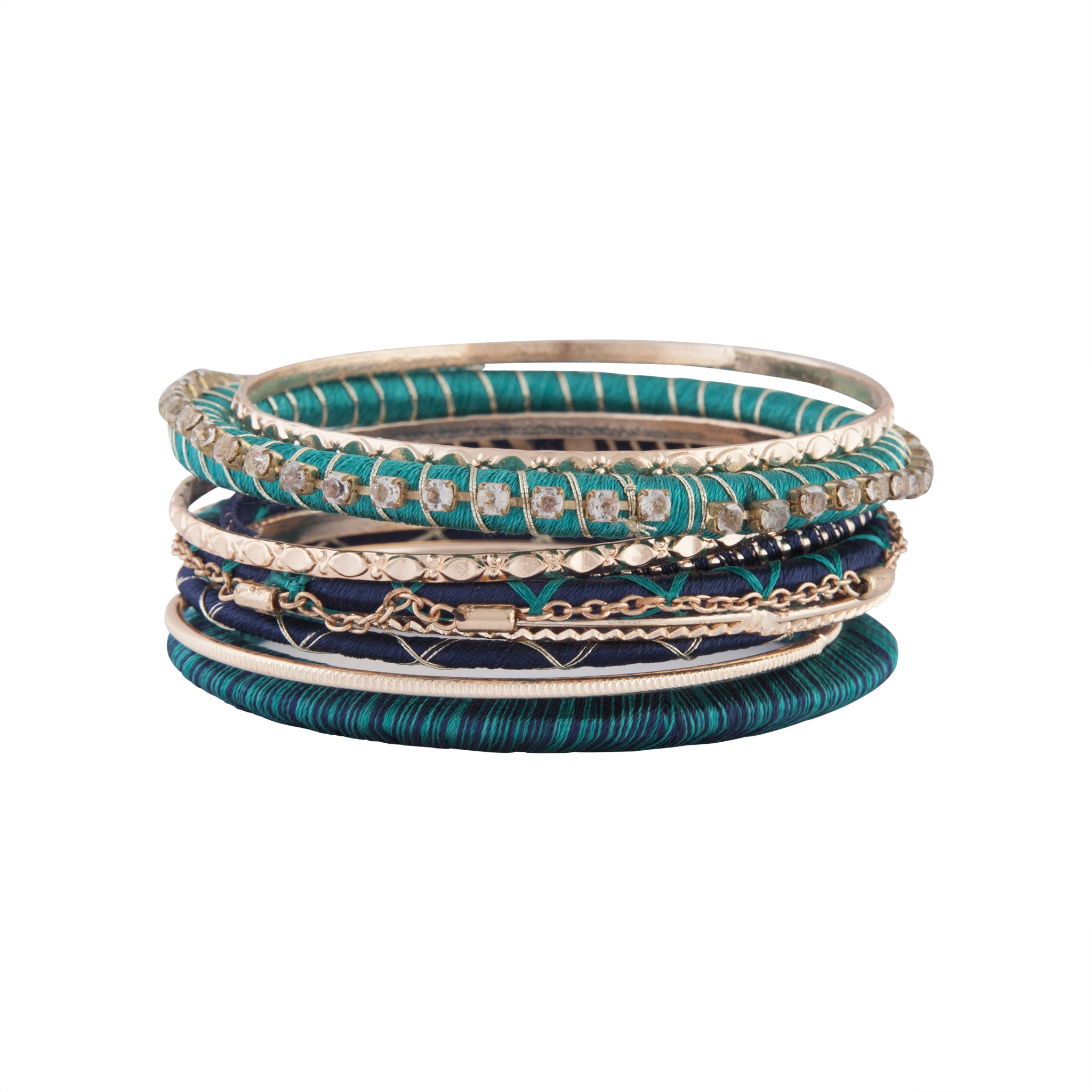 Emerald Navy Mixed Beaded Bangle Pack