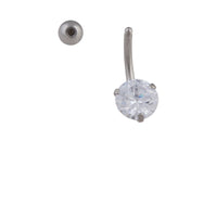 Rhodium Stone Claw Belly Bar