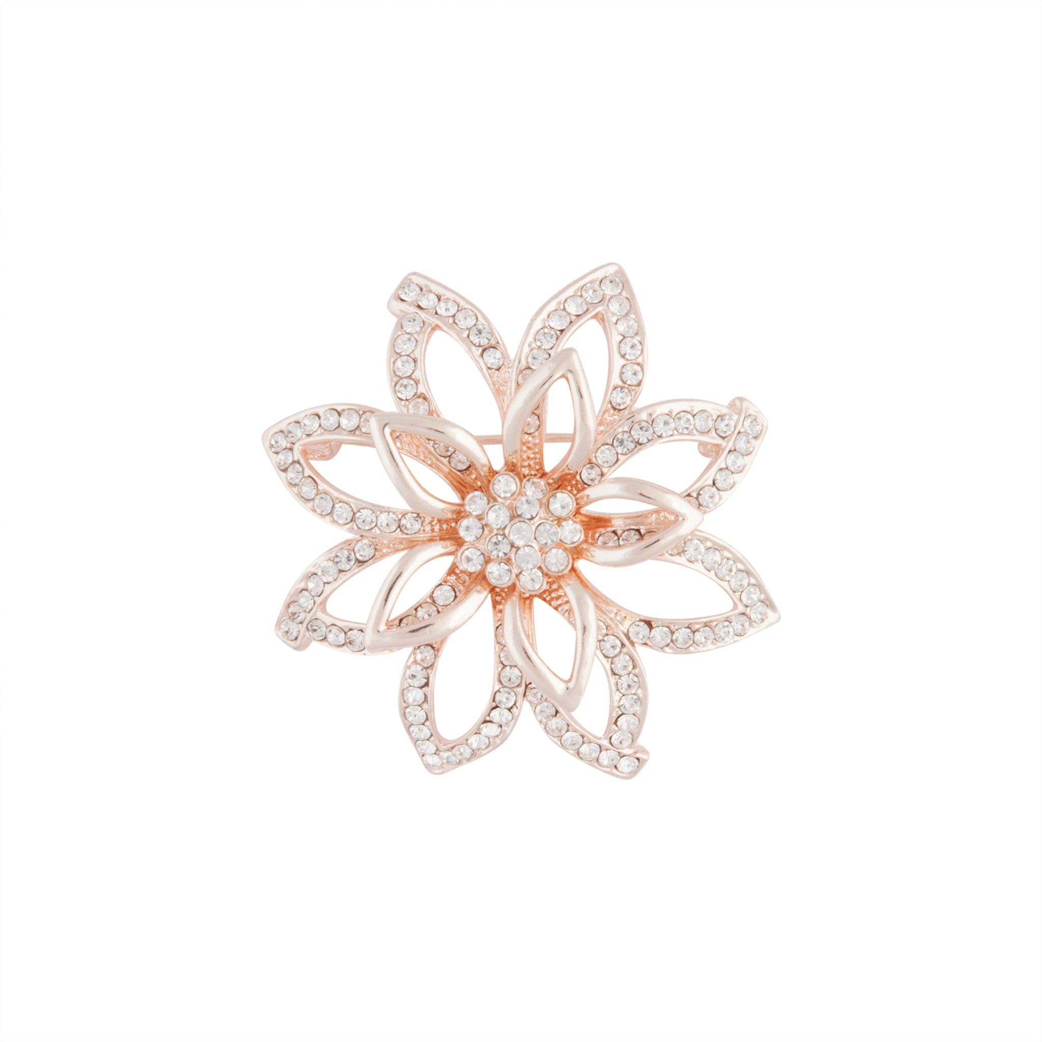 Rose Gold Flower Diamante 3D brooch
