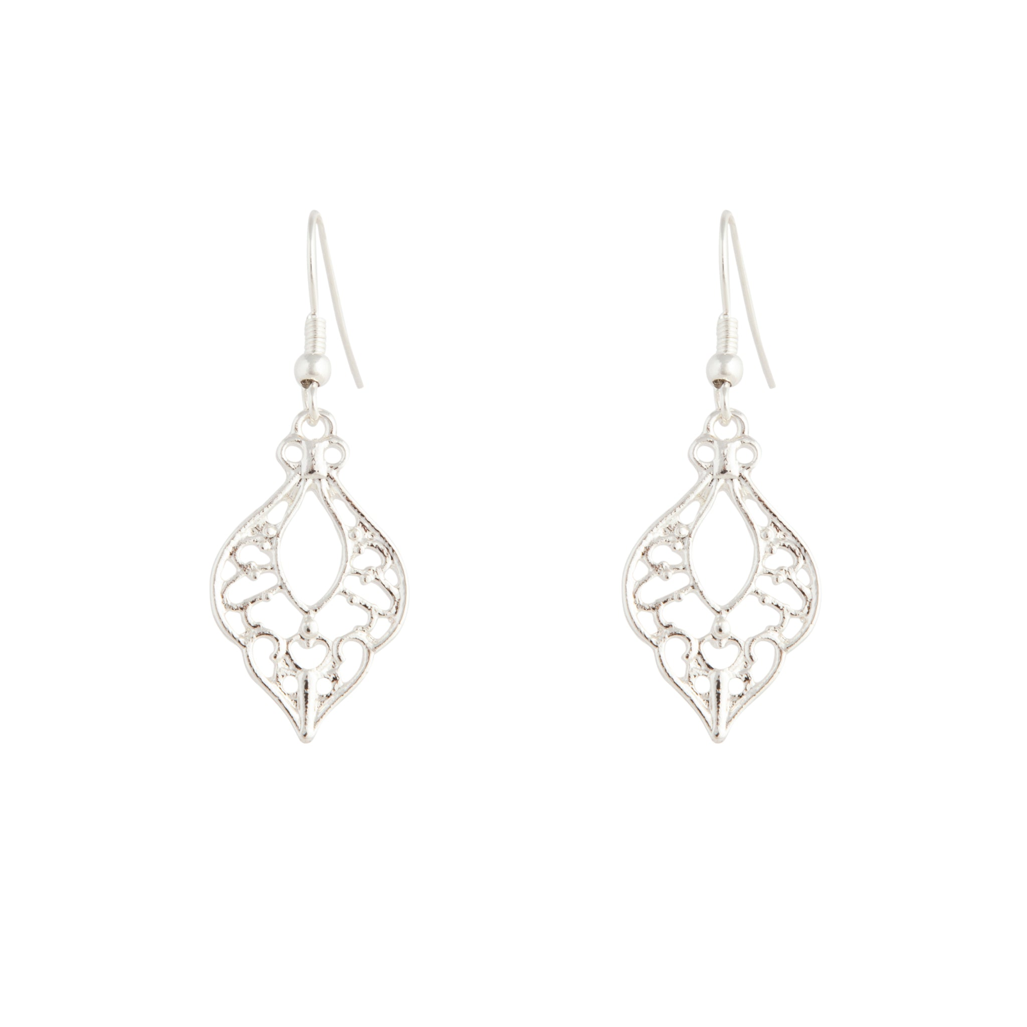 Silver Bohemian Cutout Drop Earrings