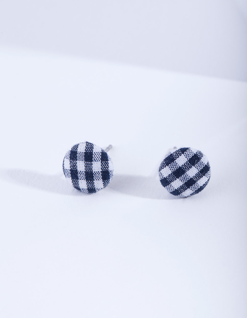 Gingham Button Stud Earring