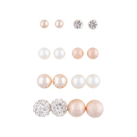 Rose Gold Ball Pearl 8 Pack Stud Earrings - link has visual effect only