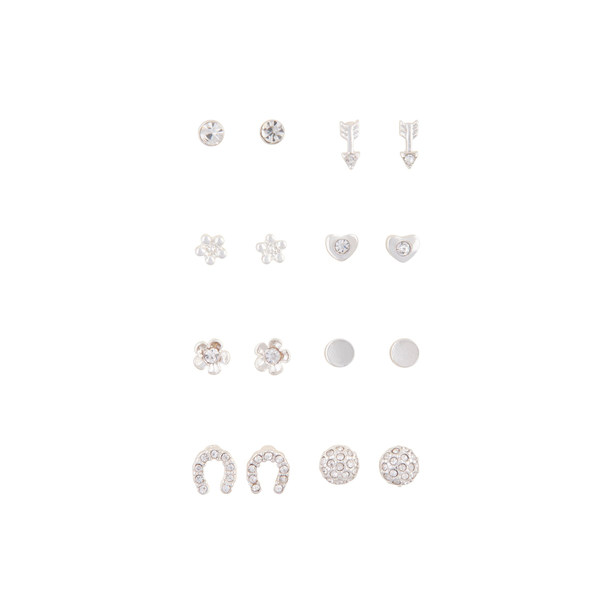 Silver Little Flower 8 Pack Stud Earrings