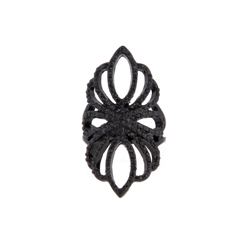 Black Filigree Loop Diamante Ring