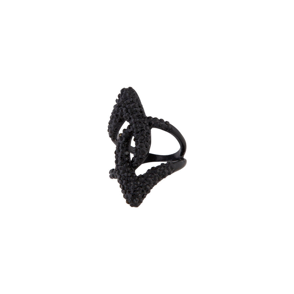 Black Rhinestone Abstract Loop Ring