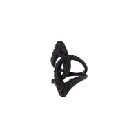 Black Rhinestone Abstract Loop Ring - link has visual effect only