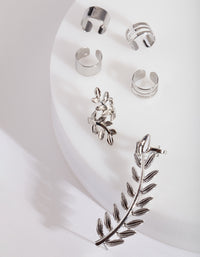 Rhodium Leaf Ear Stack - link has visual effect only