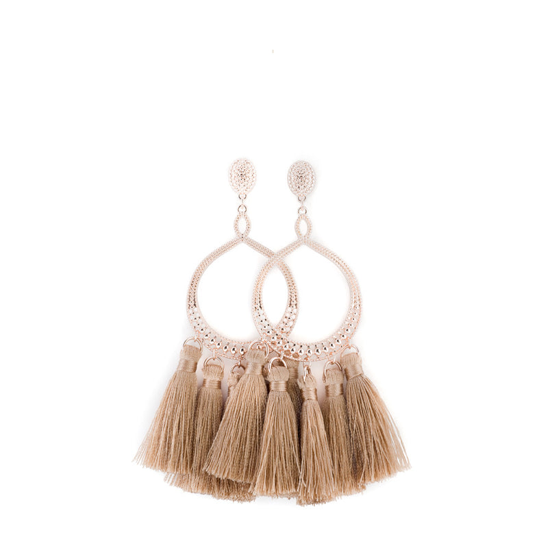 Rose Gold Open Ring Tassel Earring