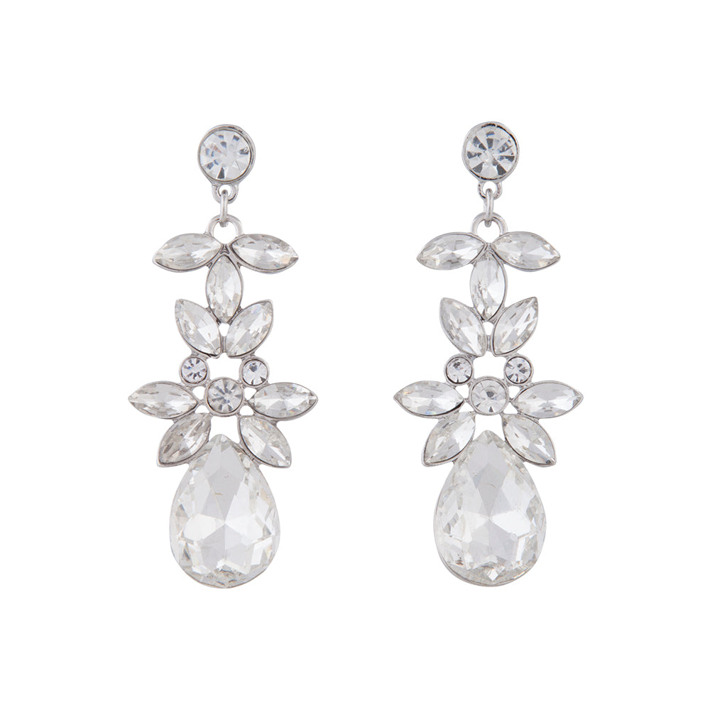 Stud And Marquise Shape Diamante Drop Earring