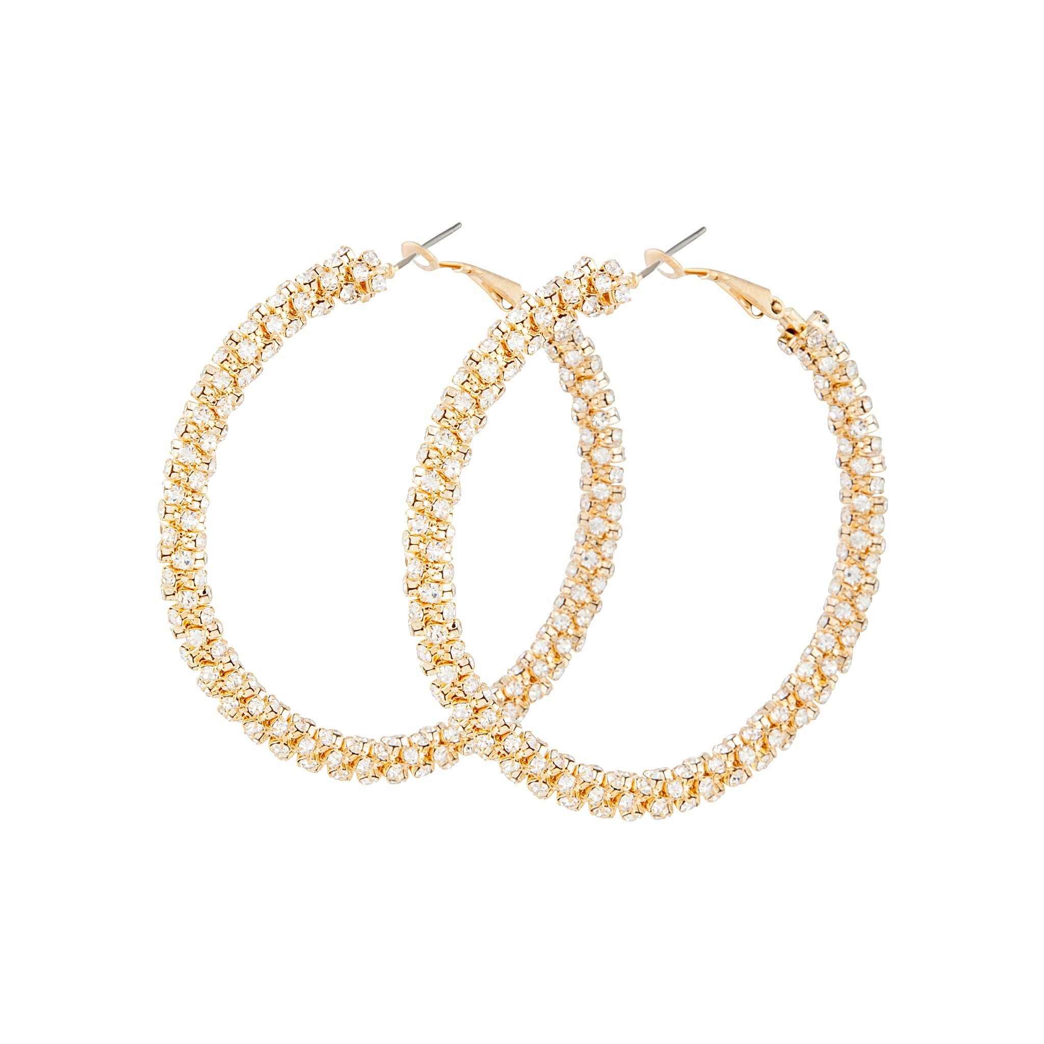 Gold Diamante Cup Chain Large Hoop