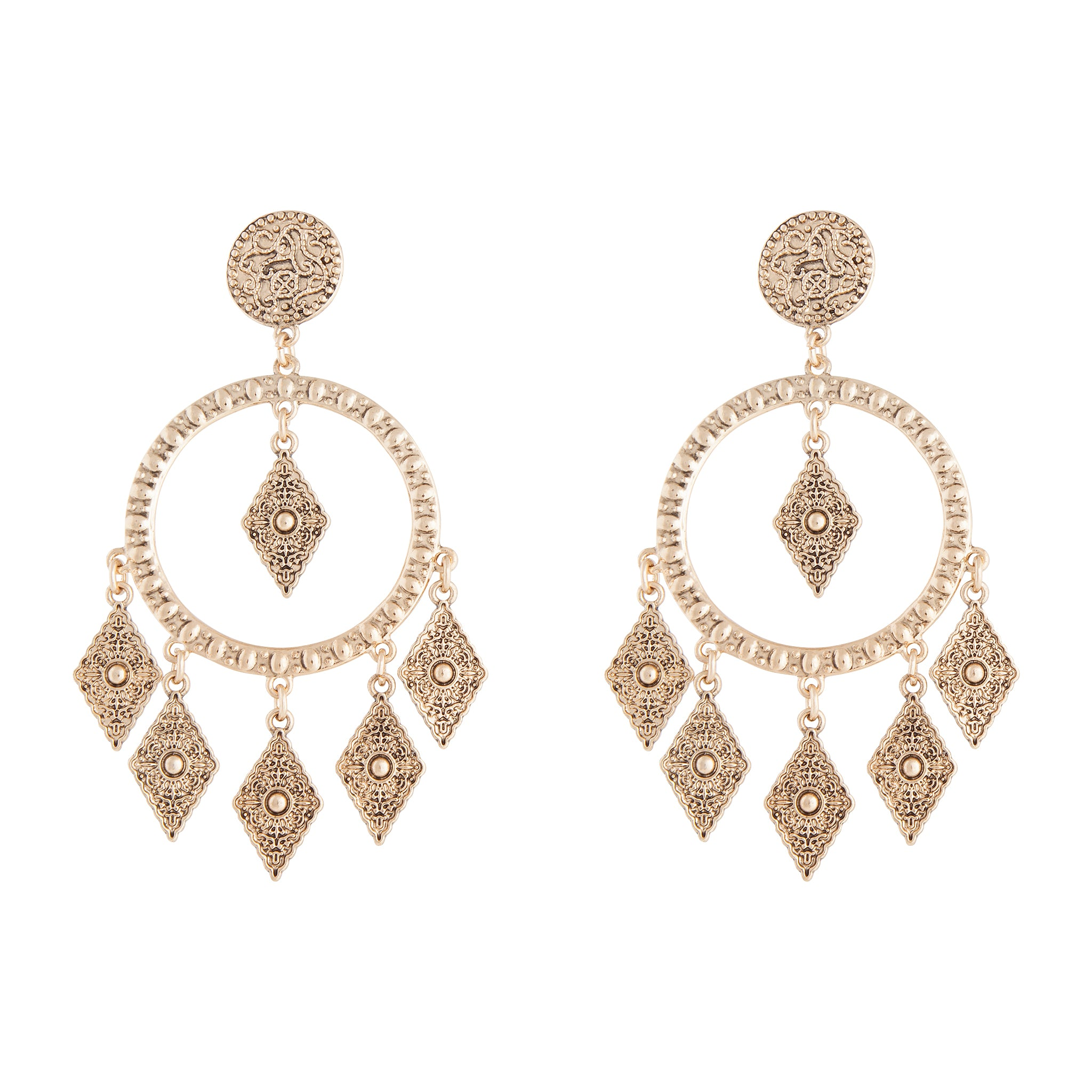 Antique Gold Textured Diamante Circle Earring