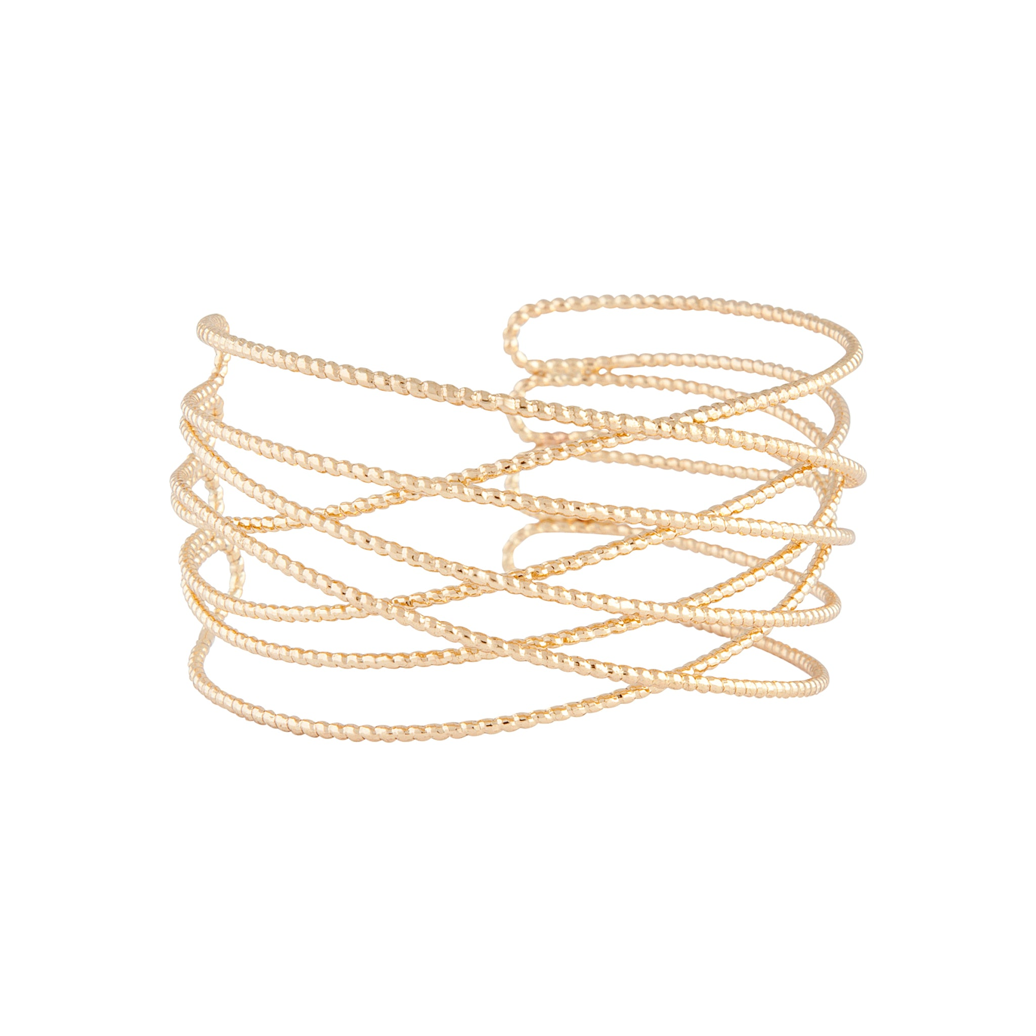 Gold Diamond Cut Cuff