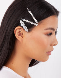 Diamante Zig Zag Pins 4 Pack In Silver - link has visual effect only