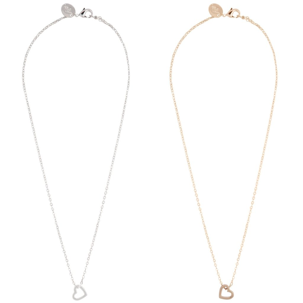 Tear and Share Gold Silver Cut-out Heart Necklace Pack