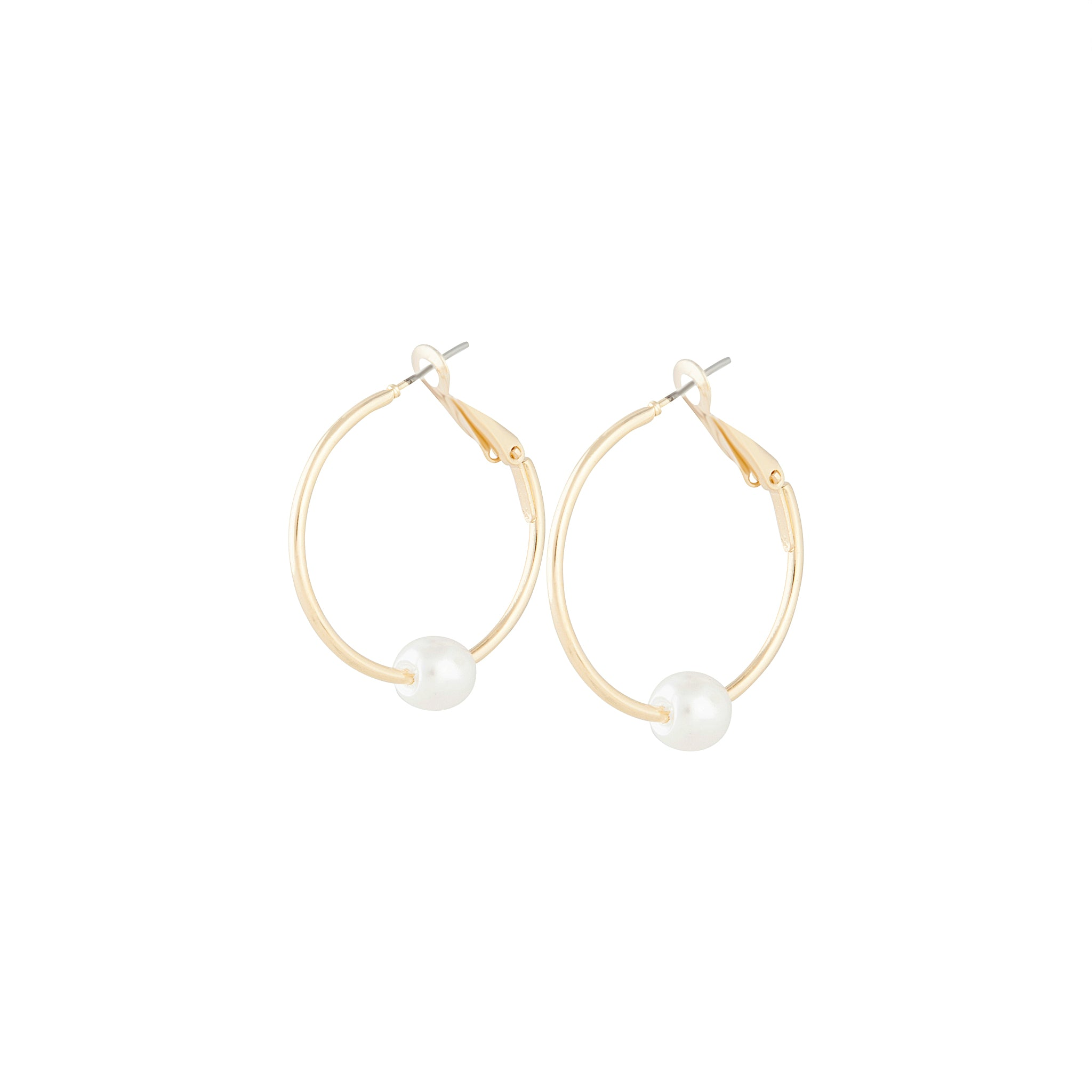 Polished Gold Pearl Hoop Earring