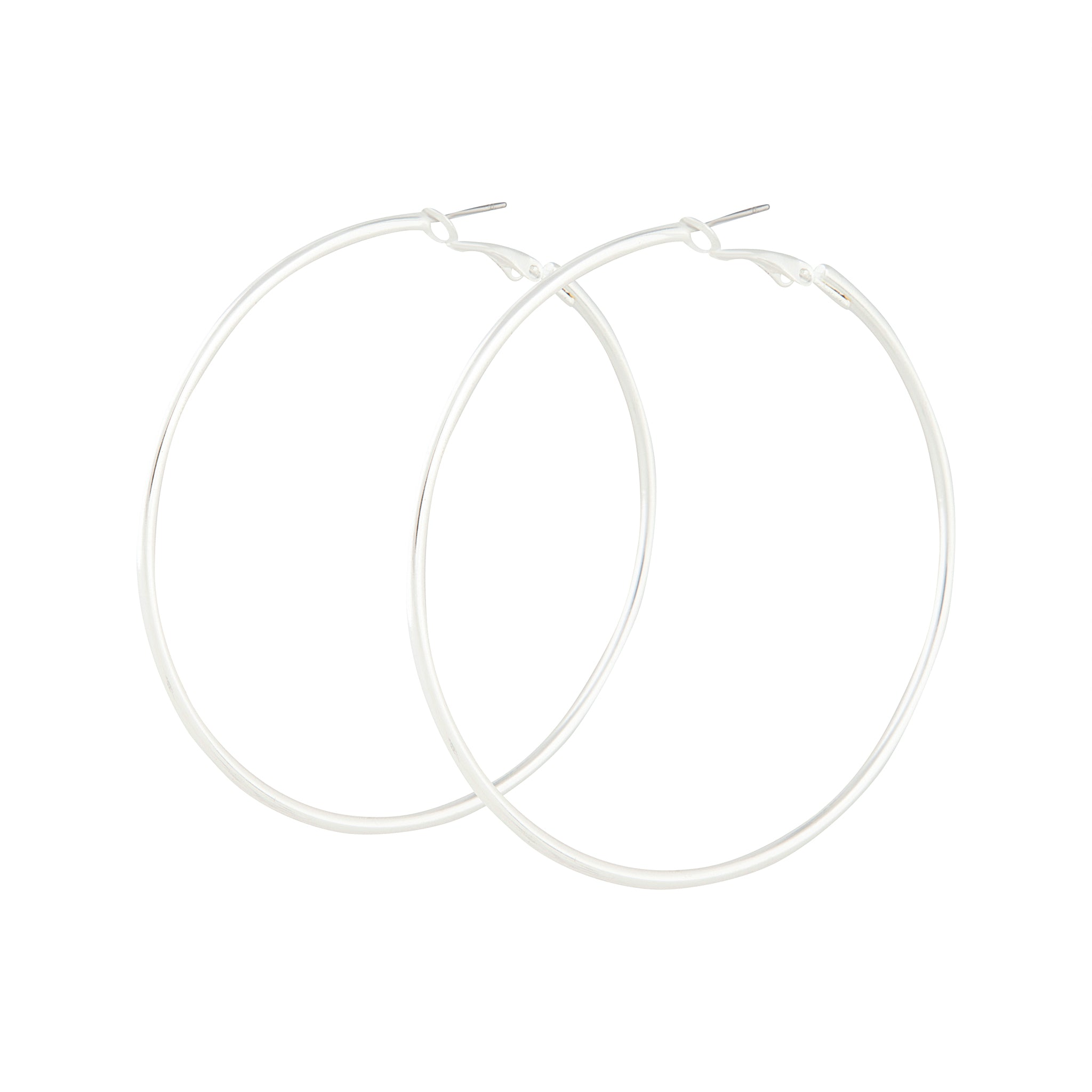 Silver Classic Medium Hoop Earring