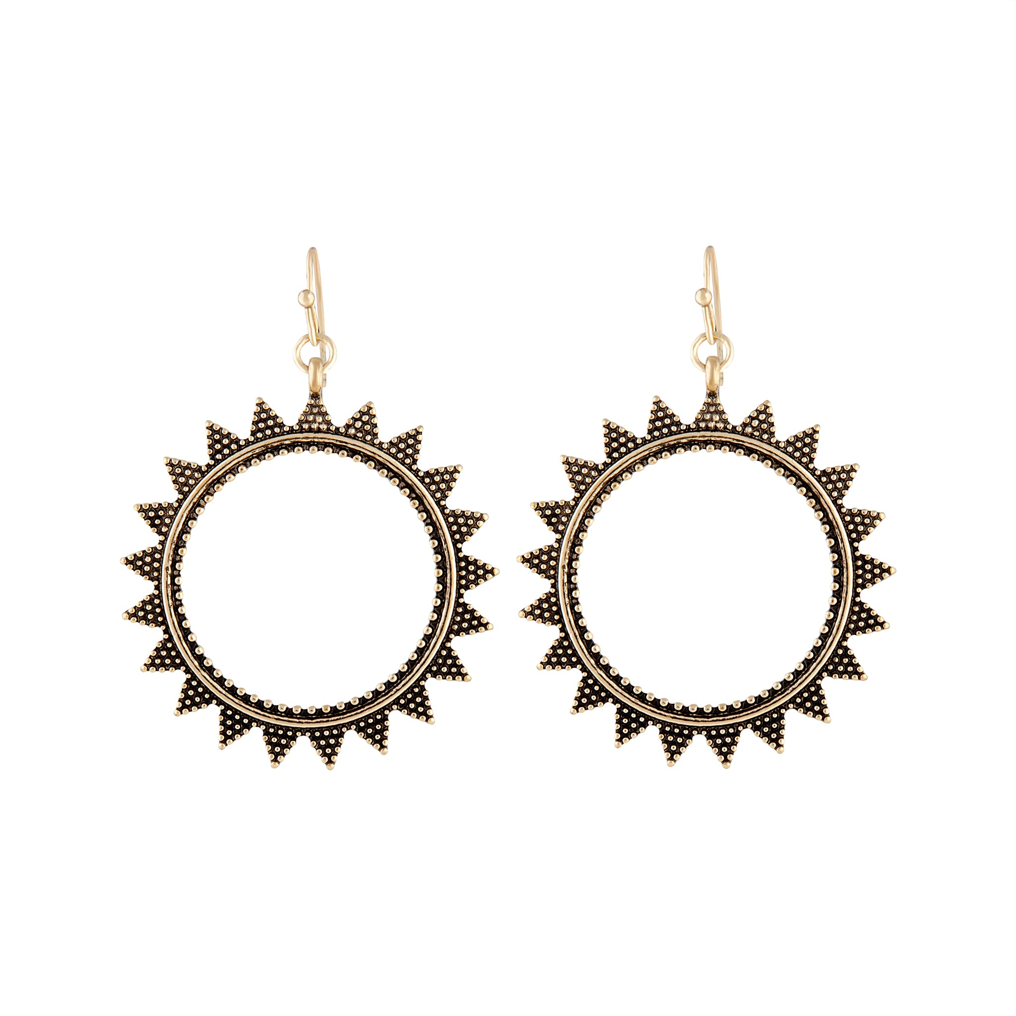 Gold Texture Open Sun Drop Earring