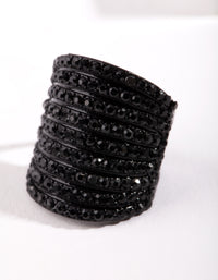 Black Wide Diamante Ring - link has visual effect only