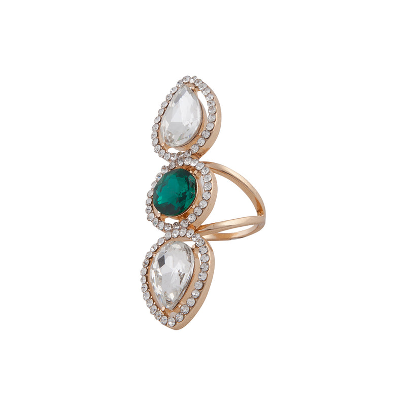 GOLD COCKTAIL RING WITH EMERALD CENTRE STONE