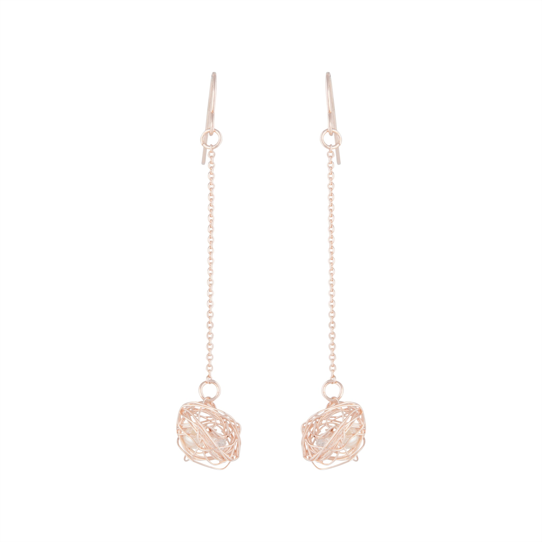 Rose Gold Wire Wrap Ball Drop Earring