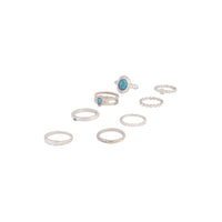 Silver Stackable Ring Turquoise 8 Pack | Rings | Lovisa Jewellery Australia | Gift Idea Girl