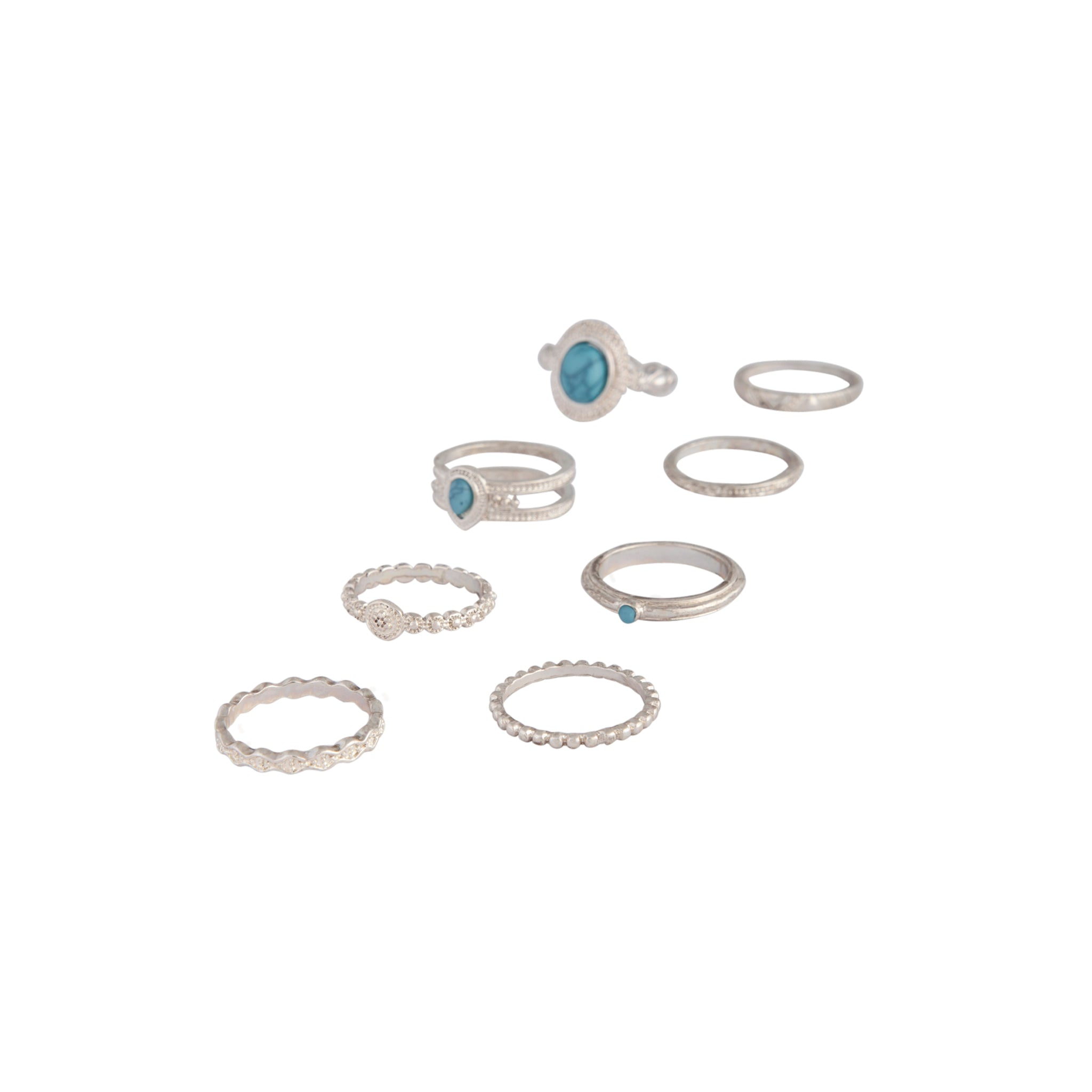 Silver Stackable Ring Turquoise 8 Pack