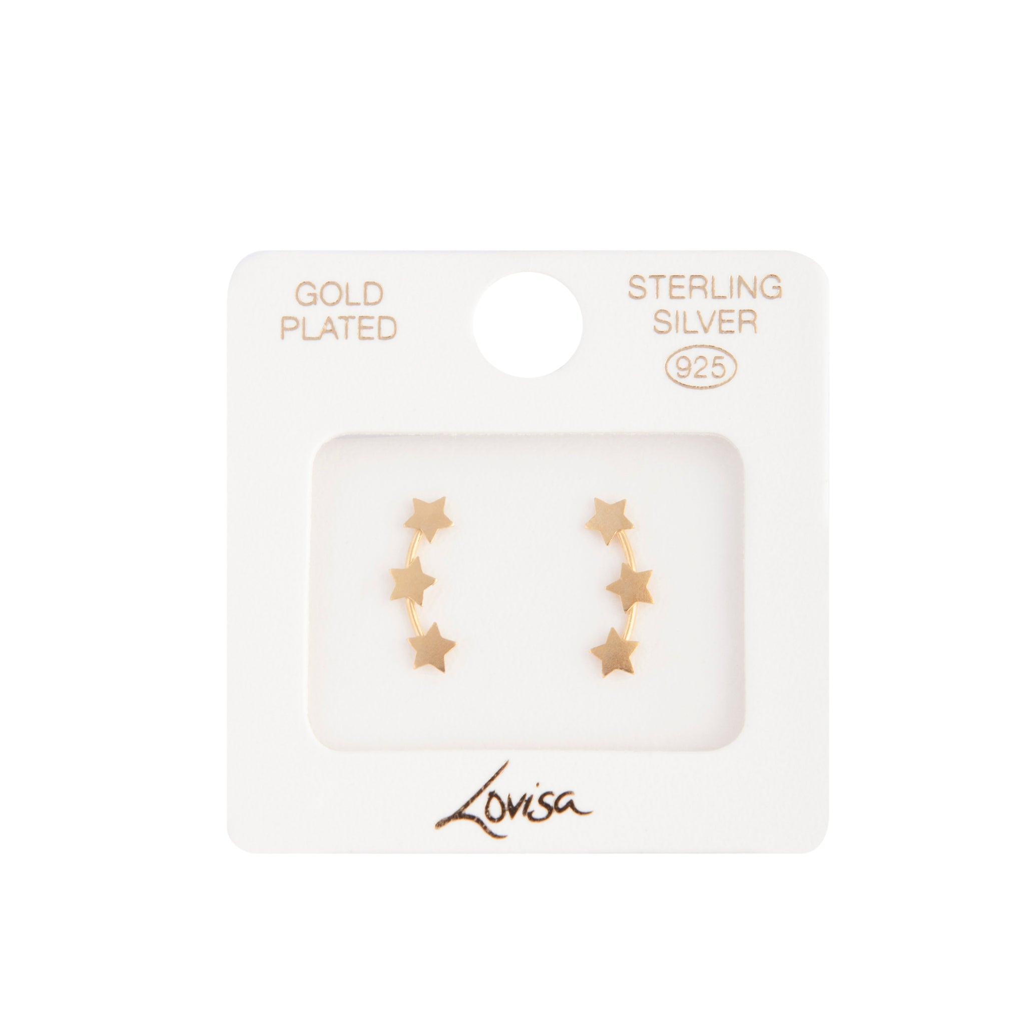 Gold Plated Sterling Silver Triple Star Stud Earring