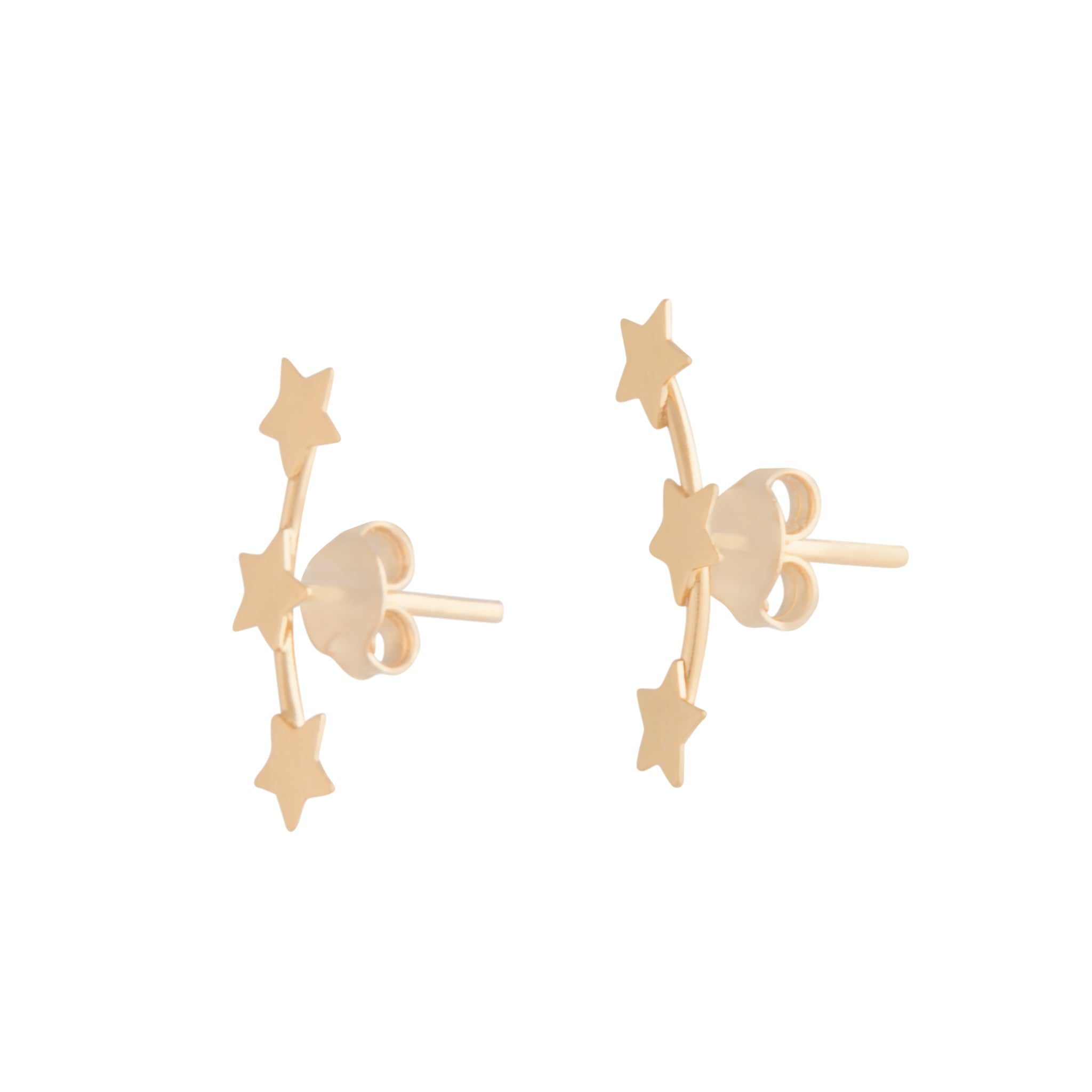 Gold Plated Triple Star Stud Earring