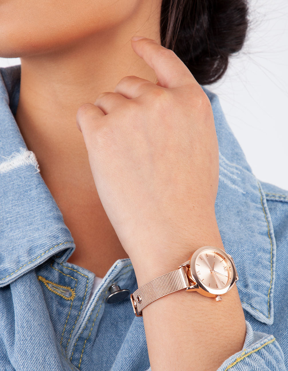 Rose Gold Skinny Mesh Watch