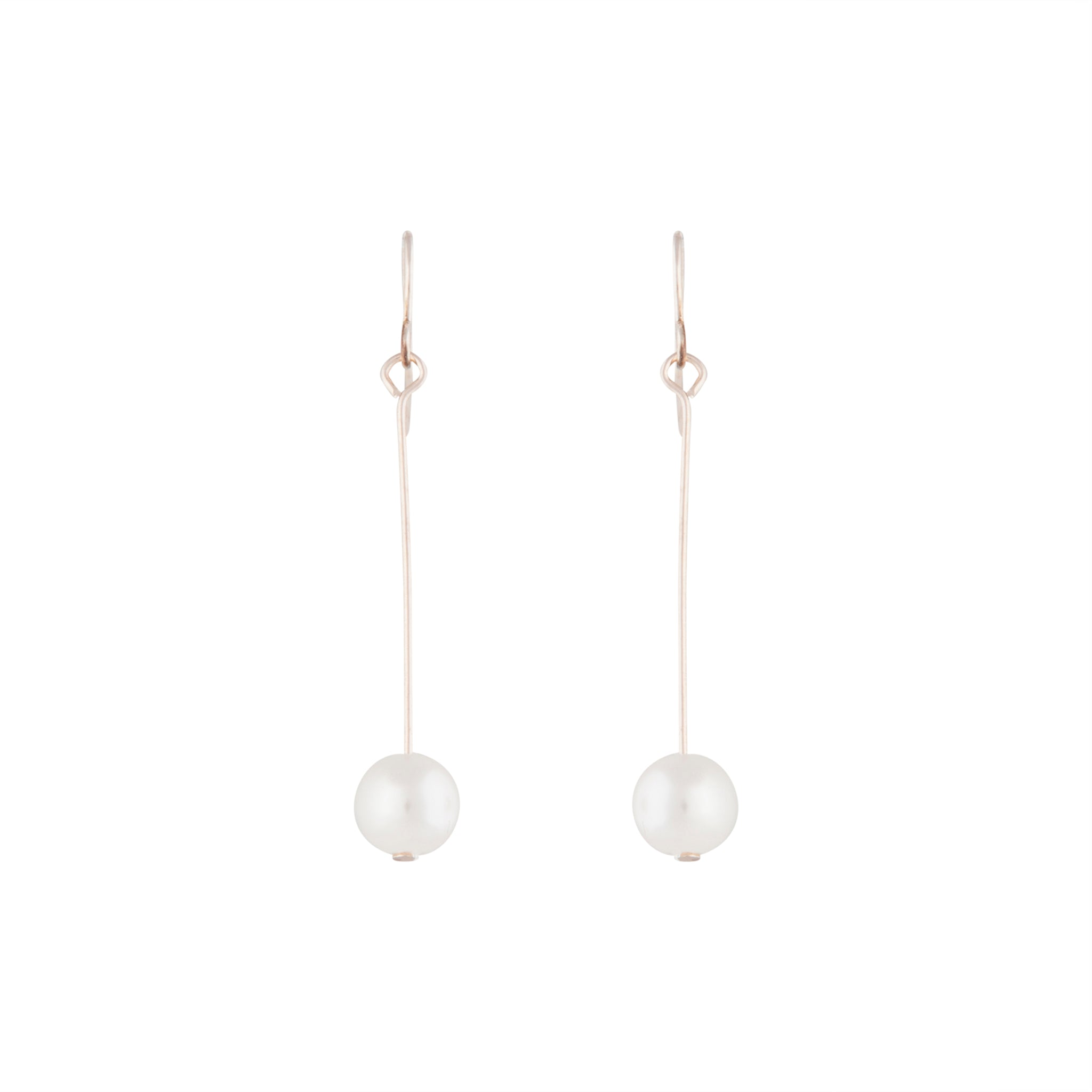 Rose Gold Fine Stick and Pearl Drop Earring