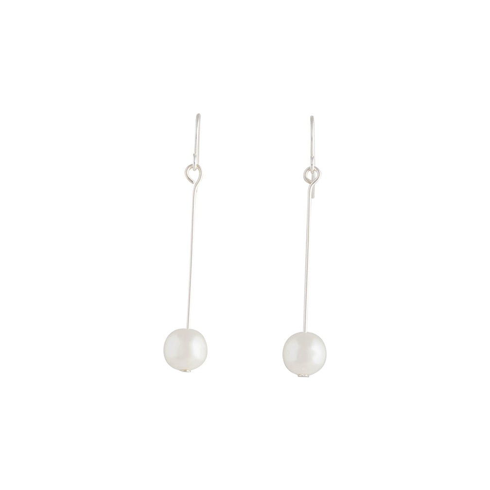 Fine Silver Pin And Pearl Drop Earring