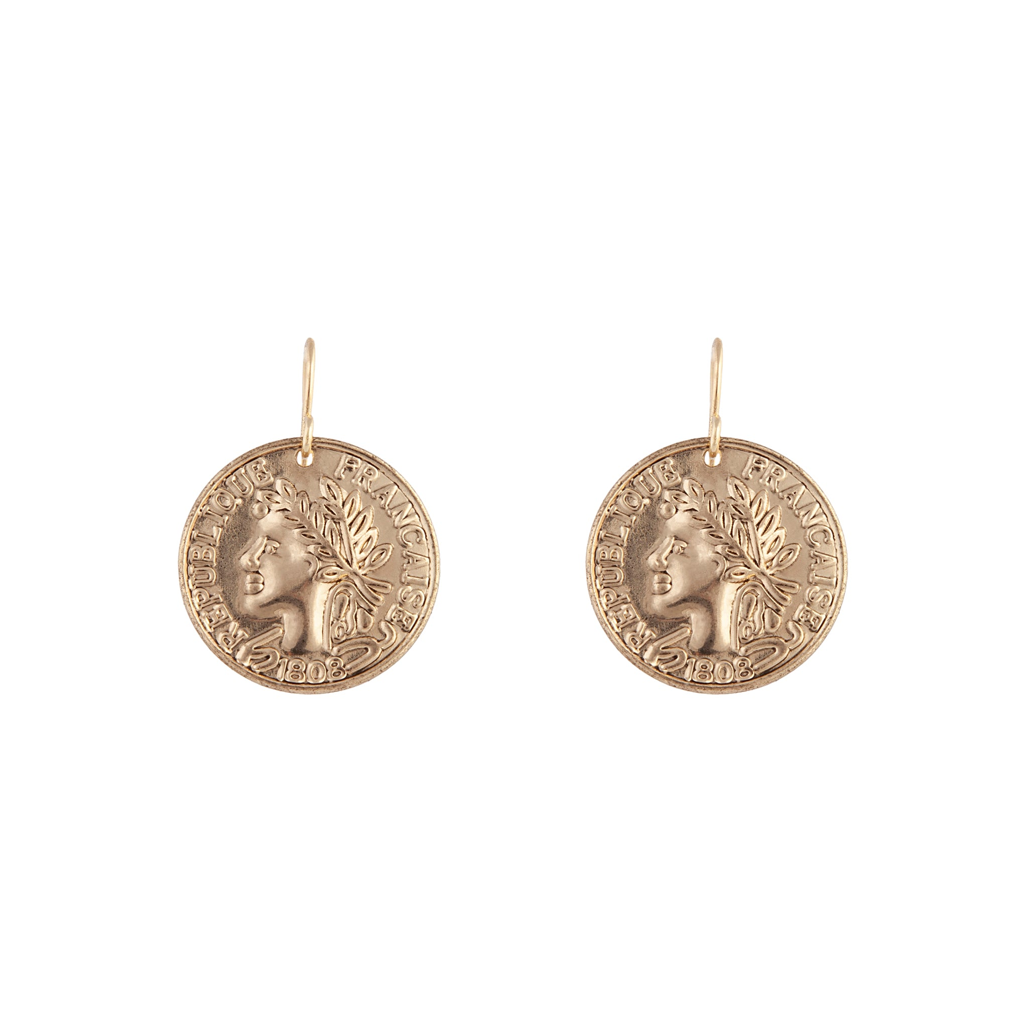 Antique Gold Ancient Greek Coin Drop Earrings
