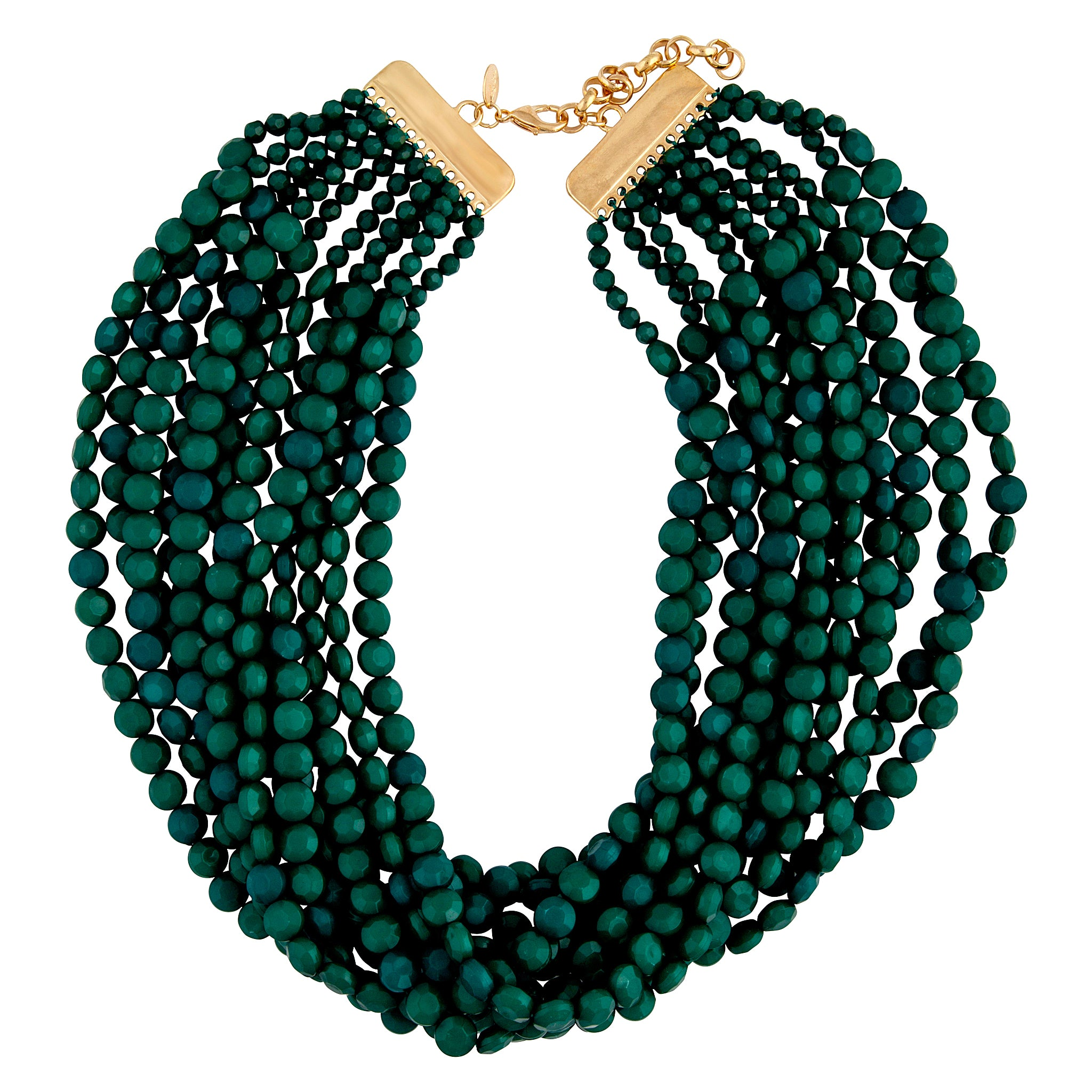 Gold Green Twelve Layer Facet Bead Necklace