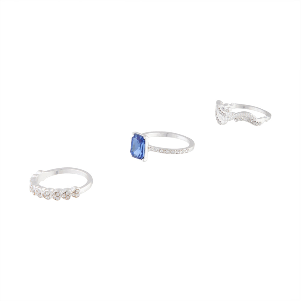 Silver Baguette Sapphire Diamante Ring Stack