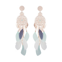 Mint White Rose Gold Filigree Cascade Feather Earring