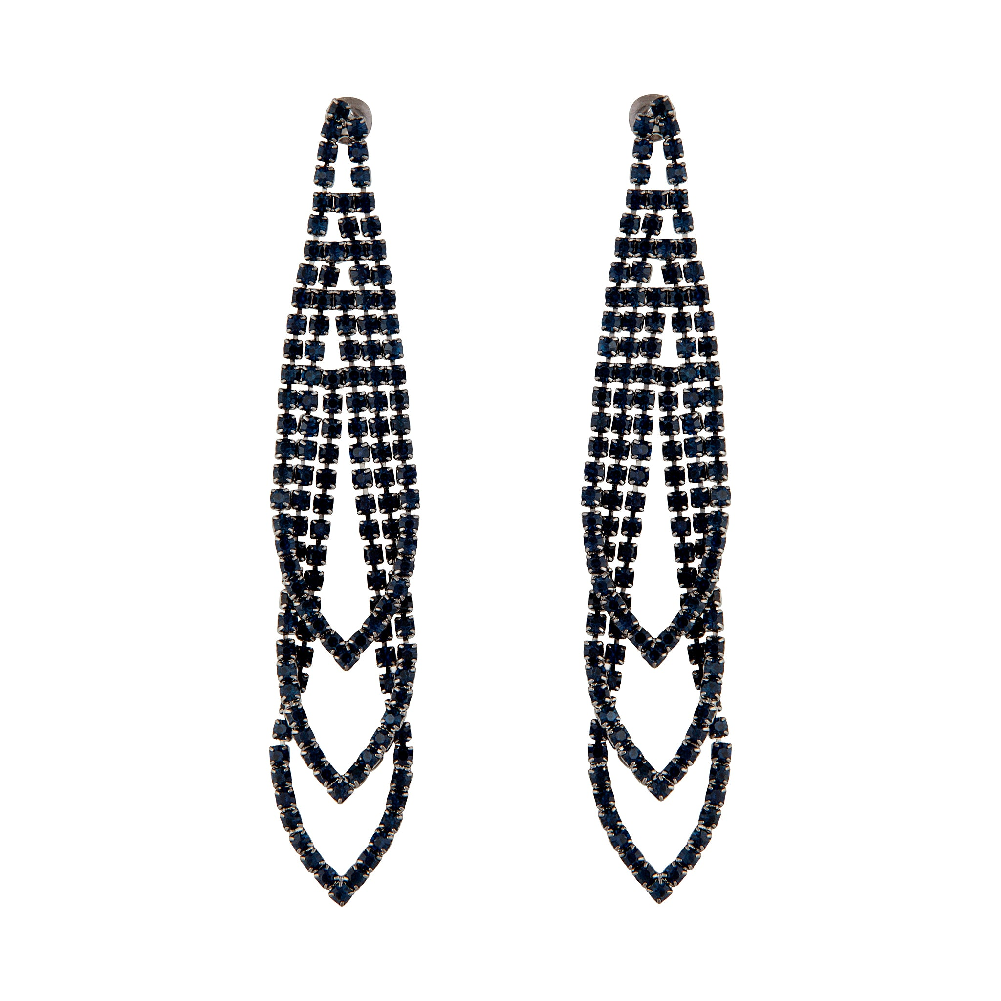 Midnight Gunmetal Loop Cup Chain Earrings