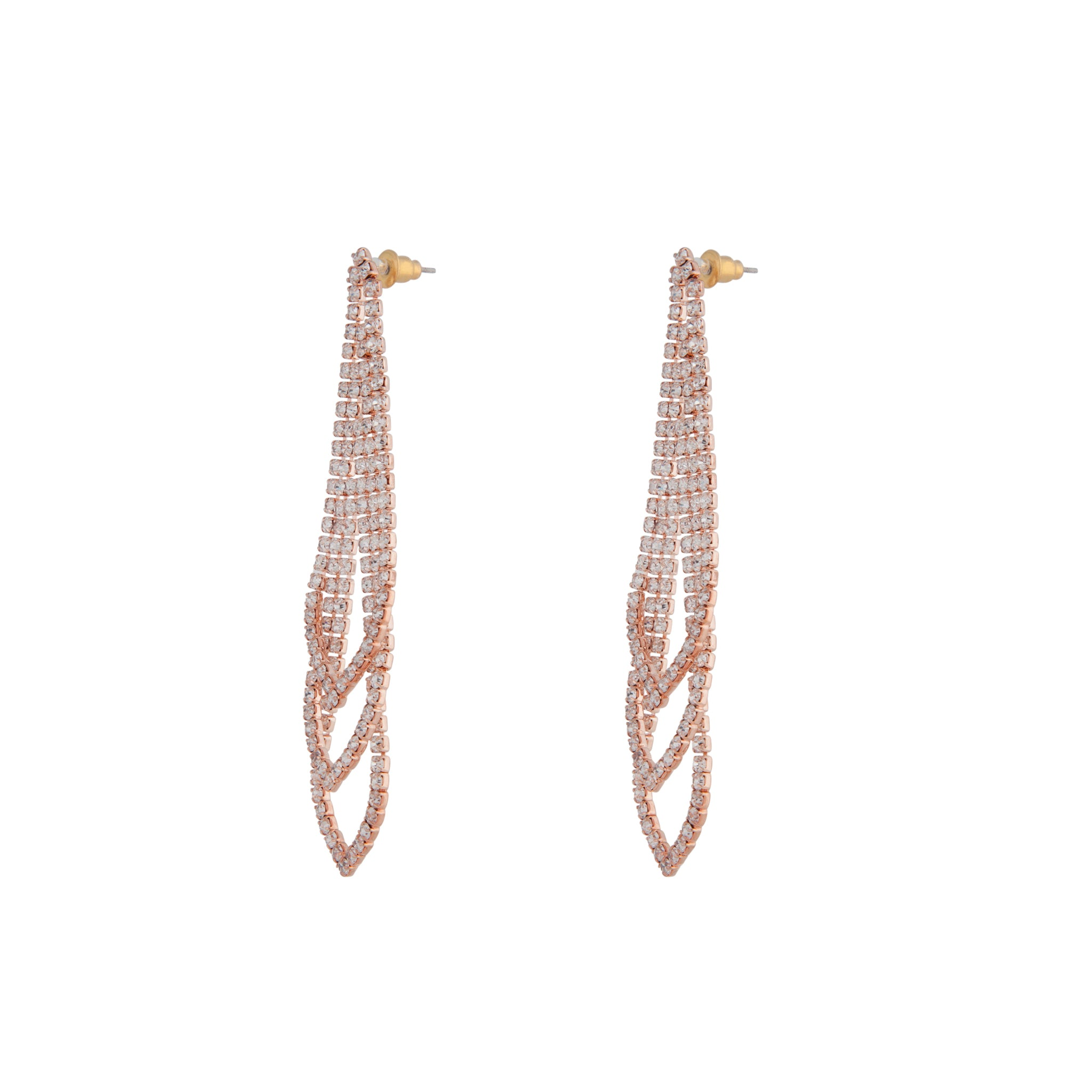 Rose Gold Gradual Loop Cup Chain Earring