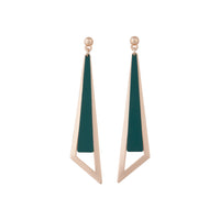 Rose Gold Geometric Stud With Matte Teal Feature - link has visual effect only