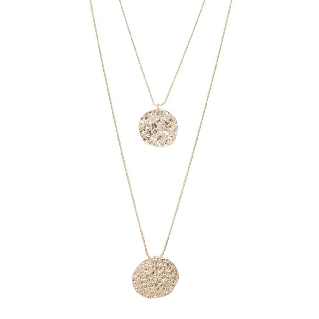 Gold Double Row Coin Charm Necklace