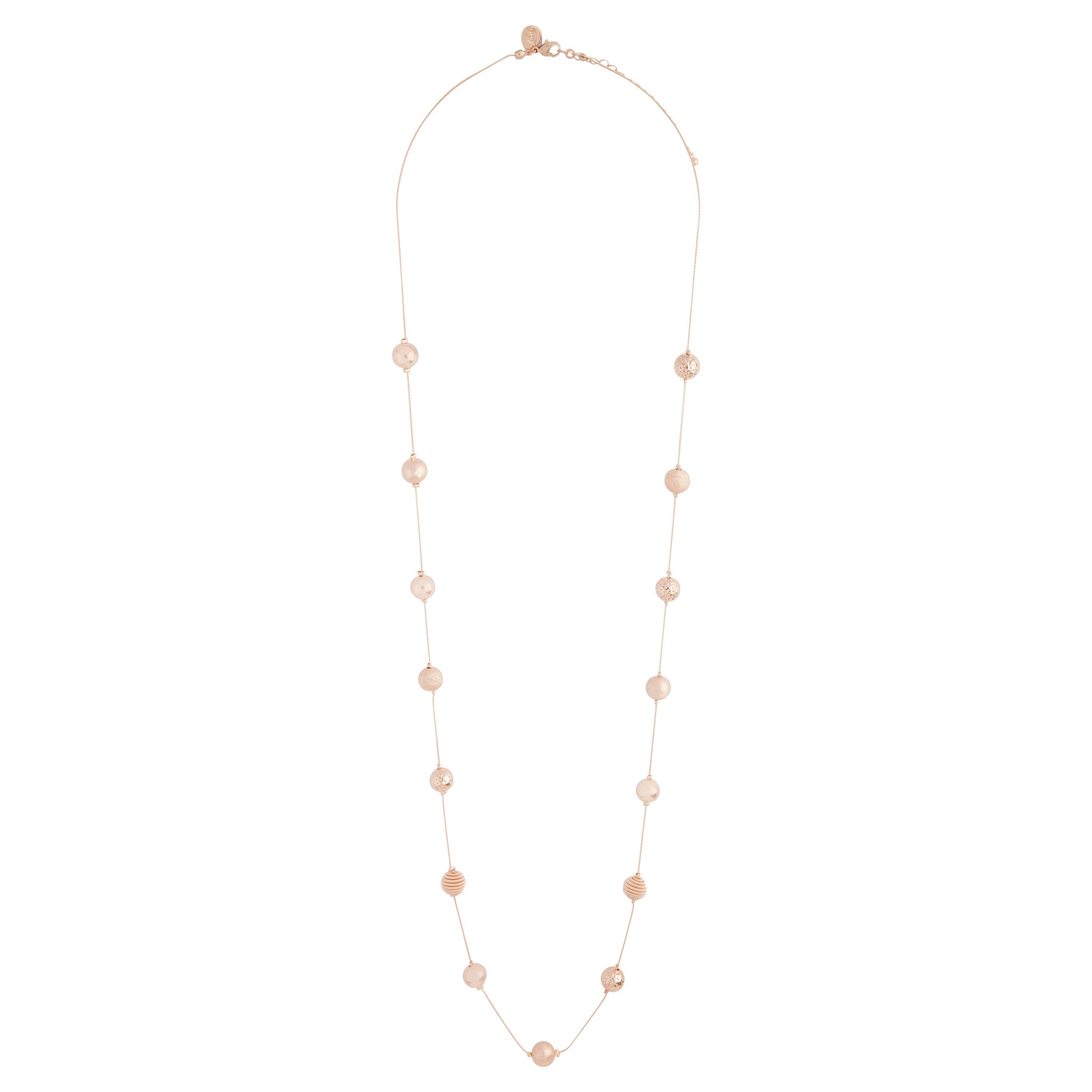 Rose Gold Mixed Station Ball Necklace